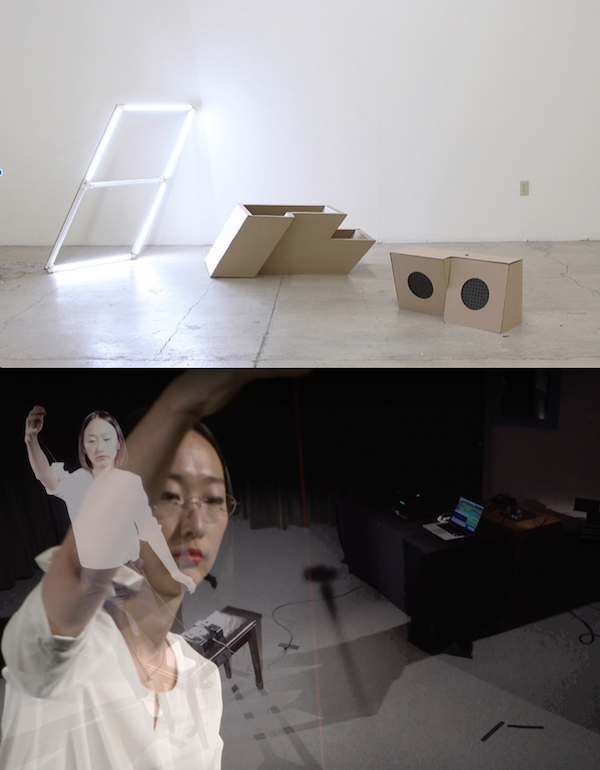 Top: Jack Ryan,  Obtuse Isometric Electronics, audio electronics, cardboard, steel, wood, audio broadcast, variable demensions, 2014-2015.  Bottom: Chi Wang, performance documentation, 2015.  Images courtesy the artists.